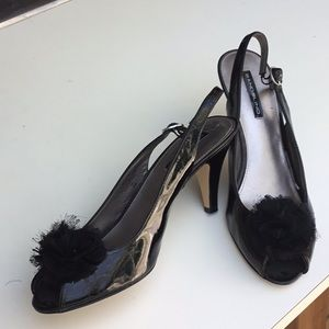 PARTY GIRL!  Organza fluffed, open toed heels!